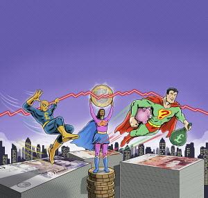 Superheroes protecting savings