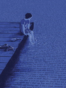 Boy dangling feet in water covered in words
