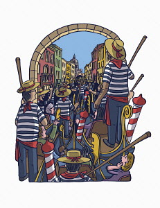 Gondolas in traffic jam on canal in Venice