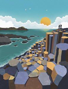 Illustration of the Giant's Causeway, Northern Ireland