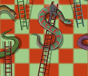 Businesswoman climbing dollar sign ladder avoiding pound sign snake