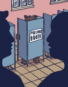 Bear in polling booth