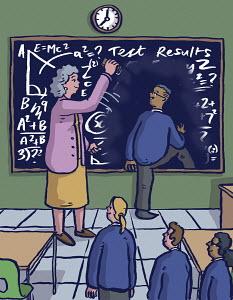 School pupils queuing to step through blackboard