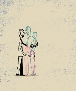 Father hugging family