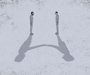 Two men standing apart with shadows shaking hands