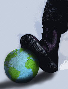 Military boot crushing globe