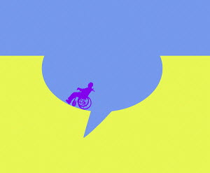 Man in wheelchair inside speech bubble hole