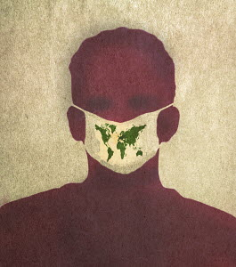 Man wearing world map on mask