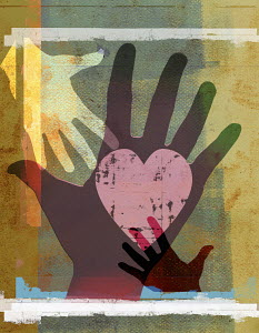 Hands reaching together with heart shape