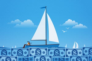 Couple sailing on calm dollar note sea