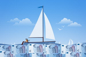 Couple sailing on calm euro note sea