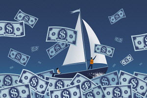 Couple sailing on stormy dollar note sea