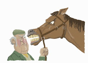 Farmer inspecting teeth of angry horse