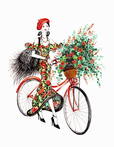 Beautiful woman pushing bicycle with dog and flowers in basket