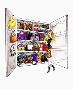 Woman choosing from wardrobe full of handbags