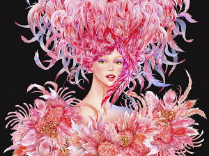 Beautiful woman wearing flamboyant feather outfit