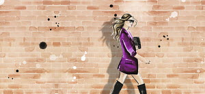 Fashion illustration of woman wearing jacket and boots against brick wall