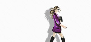Fashion illustration of woman wearing jacket and boots against white background