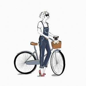Young woman with pug dog in bicycle basket