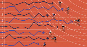 Overhead view of athletes and line graphs competing in race