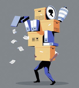 Man carrying huge pile of boxes and files