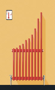 Central heating radiator forming bar chart