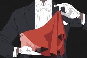 Magician revealing piggy bank