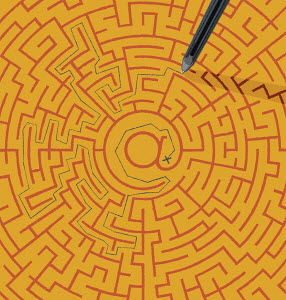 Struggle to find way out of at symbol maze
