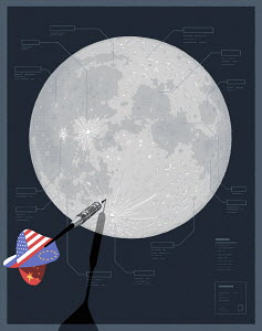 Joint American, Chinese, Russian and European dart hitting moon