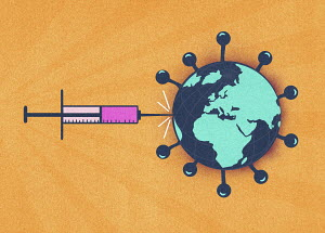 Syringe injecting global coronavirus virus organism