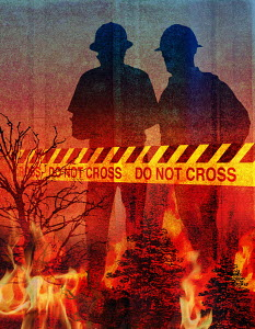 Firefighters and dangerous forest wildfires