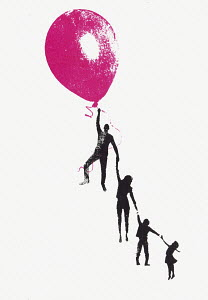 Balloon lifting family into the air