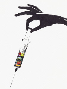 Syringe containing elements of health service