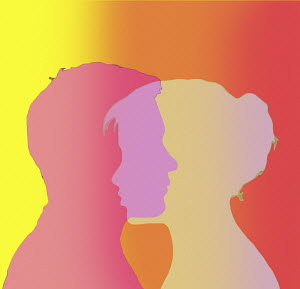 Overlapping profiles of man and woman