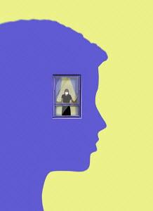 Woman wearing face mask trapped inside window in head