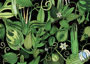 Lush green foliage pattern