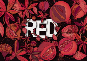 The word RED surrounded by foliage and seed head pattern