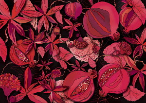 Red foliage and seed head pattern