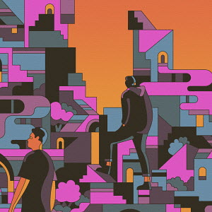 Men wandering through in abstract geometric landscape