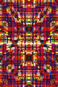 Complex abstract three dimensional grid pattern