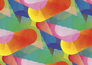 Abstract brightly coloured overlapping cone shapes