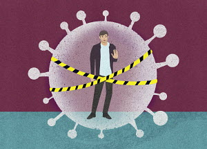 Man behind security tape inside coronavirus virus organism