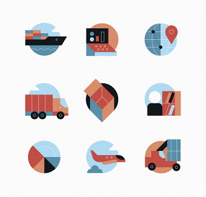 Global shipping and logistics icons