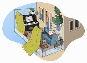 Man using balcony as outdoor living room