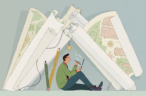 Architectural drawing forming tent for man working on tablet pc