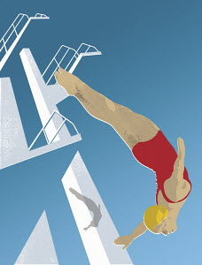 Woman high diving head first