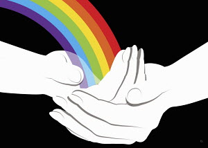 Cupped hands holding rainbow
