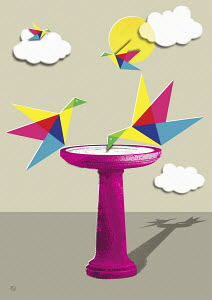 Origami birds on bird bath