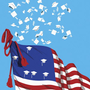 Mortar boards thrown in air from Stars and Stripes flag