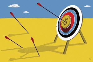 Arrow hitting dollar target